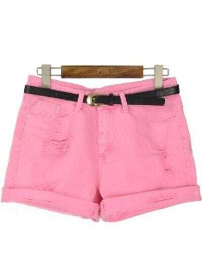 Pink High Waist Ripped Flange Shorts