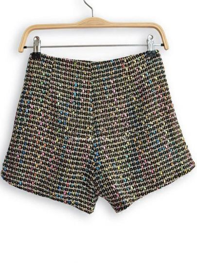 Multi High Waist Plaid Tweed Shorts