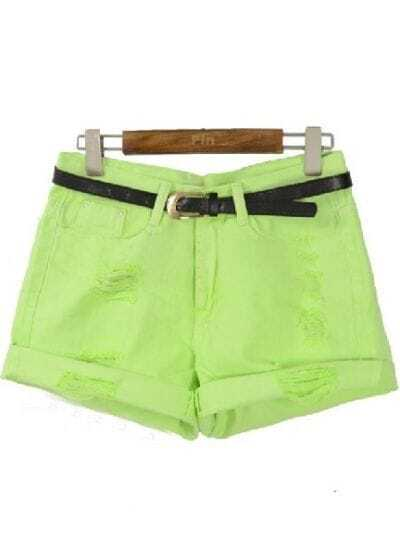 Light Green High Waist Ripped Flange Shorts