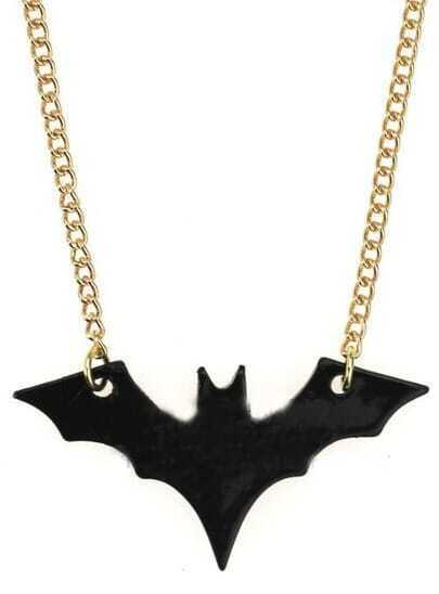 Black Bat Gold Long Necklace