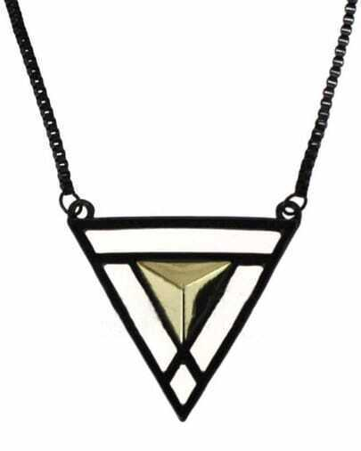 Gold Triangular pyramid Black Long Necklace