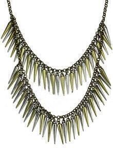 Gold Bilayer Spike Long Necklace