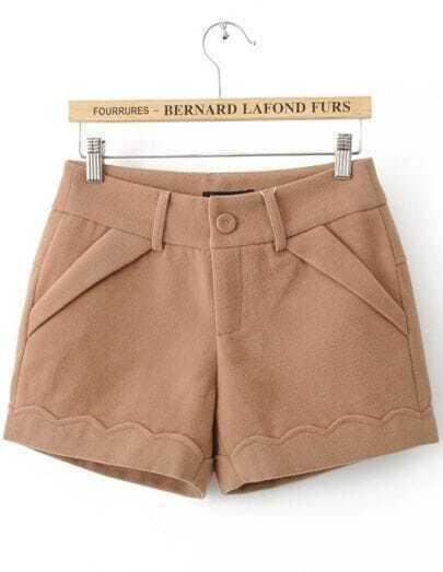 Khaki Button Fly Flange Embellished Shorts