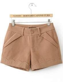 Khaki Button Fly Flange Embellished Shorts