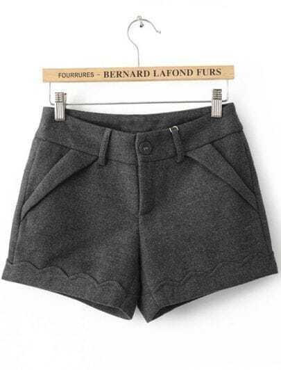 Grey Button Fly Flange Embellished Shorts