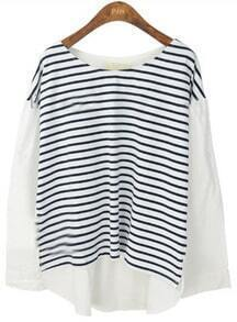 White Black Striped Long Sleeve Loose T-Shirt