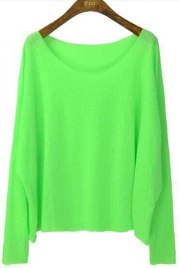 Light Green Round Neck Batwing Long Sleeve T-Shirt