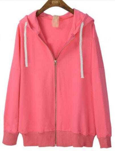 Pink Hooded Long Sleeve Zipper Cardigan Sweatshirt