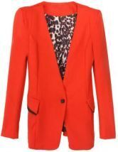 Red Long Sleeve Single Button Pocket Suit