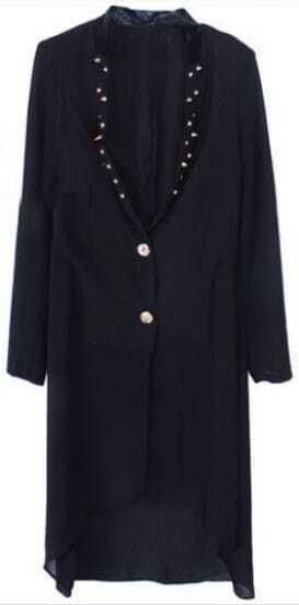 Black Long Sleeve Rivet Chiffon Dress Suit
