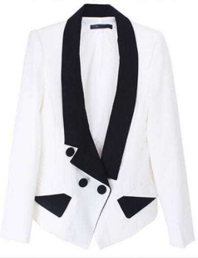 White Lapel Long Sleeve Contrast Trims Pockets Suit
