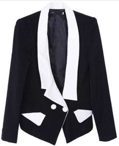 Black Lapel Long Sleeve Contrast Trims Pockets Suit