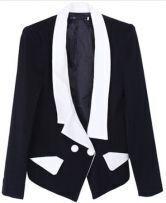 Black Lapel Long Sleeve Contrast Trims Pockets Suit