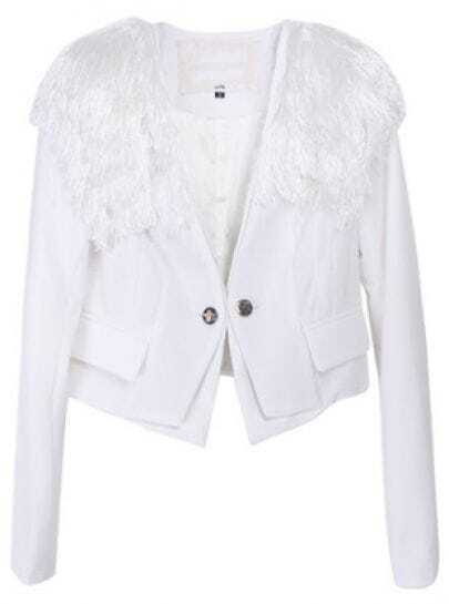 White Long Sleeve Tassel Epaulet Crop Suit