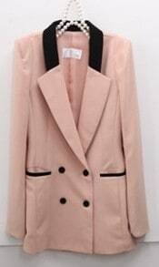 Pink Long Sleeve Contrast Trims Fitted Suit