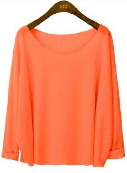 Orange Round Neck Batwing Long Sleeve T-Shirt