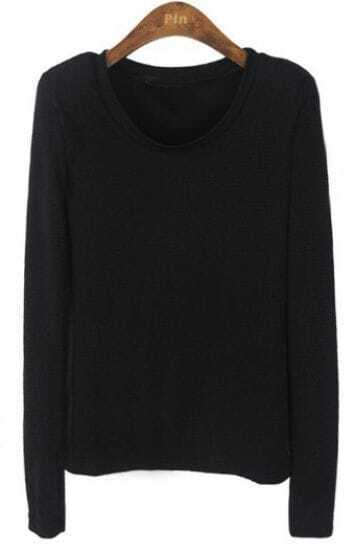 Black Metallic Yarn Long Sleeve T-Shirt