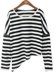 Black White Striped Zipper Long Sleeve T-Shirt