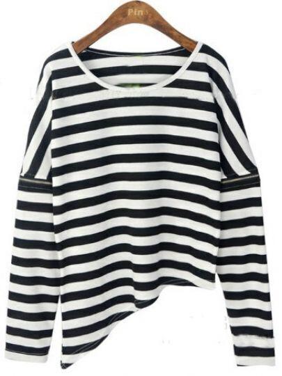 Black White Striped Zipper Long Sleeve T-Shirt