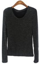 Black Long Sleeve Metallic Yarn T-Shirt