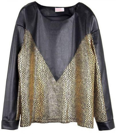 Black Gold Long Sleeve Contrast Leather Metallic Sweatshirt