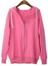 Rose Pink Hooded Long Sleeve Zipper Cardigan Sweatshirt