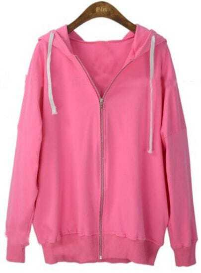 Rose Pink Hooded Long Sleeve Zipper Cardigan Sweatshirt