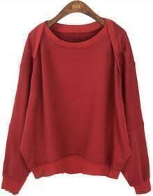 Red Batwing Long Sleeve Loose Pullovers Sweatshirt
