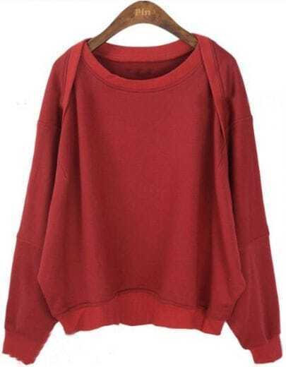 Red Batwing Long Sleeve Loose Pullovers Sweatshirt