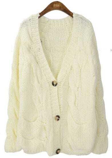 Beige V Neck Long Sleeve Serratula Cardigan Sweater