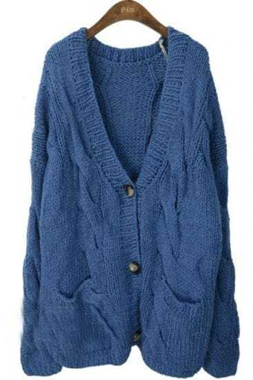 Navy V Neck Long Sleeve Serratula Cardigan Sweater