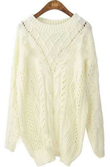 White Batwing Long Sleeve Hollow Pullovers Sweater