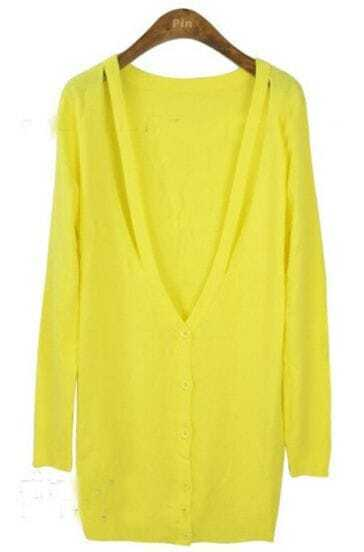 Yellow V Neck Long Sleeve Hollow Cardigan Sweater