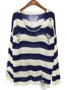 White Navy Striped Hollow Ripped Pullovers Sweater