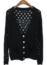 Black V Neck Long Sleeve Hollow Pockets Sweater