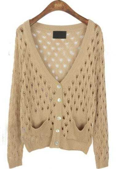 Apricot V Neck Long Sleeve Hollow Pockets Sweater