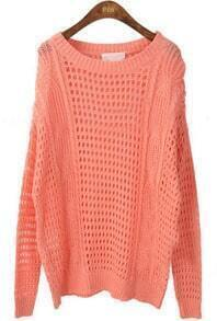 Red Round Neck Long Sleeve Hollow Pullovers Sweater