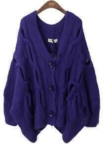 Dark Purple Serratula Hollow Batwing Cardigan Sweater