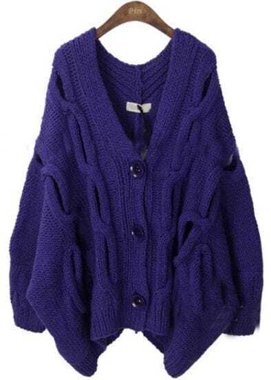 Dark Purple Serratula Hollow Batwing Cardigan Sweater
