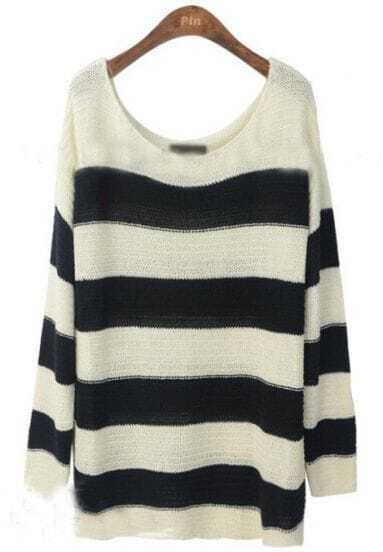 Black White Striped Loose Pullovers Sweater