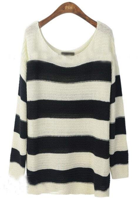 Black White Striped Loose Pullovers Sweater -SheIn(Sheinside)
