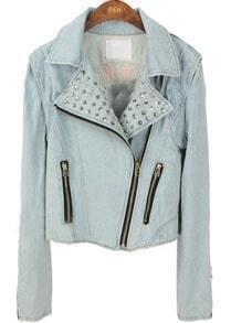 Blue Lapel Long Sleeve Rivet Zipper Crop Denim Coat