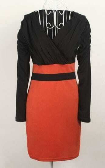 Black Orange V Neck Long Sleeve Bandeau Chiffon Dress