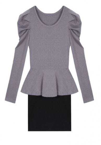 Grey Black Long Sleeve Drawstring Waist Ruffles Dress