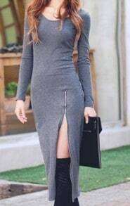 Grey Round Neck Long Sleeve Split Slim Dress