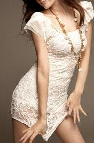 White Short Sleeve Lace Embroidery Bodycon Chiffon Dress
