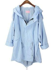 Blue Hooded Batwing Long Sleeve Zipper Trench Coat