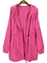 Pink Hooded Long Sleeve Drawstring Waist Trench Coat