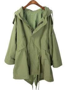 Green Hooded Batwing Long Sleeve Zipper Trench Coat