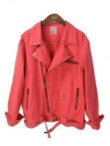 Red Lapel Long Sleeve Zipper Drawstring Waist Jacket